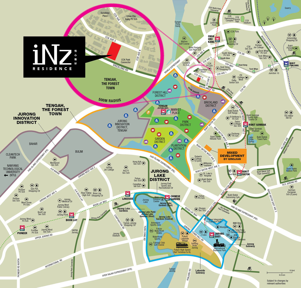 iNz Residence EC Location Plan and Surrounding Growth Districts