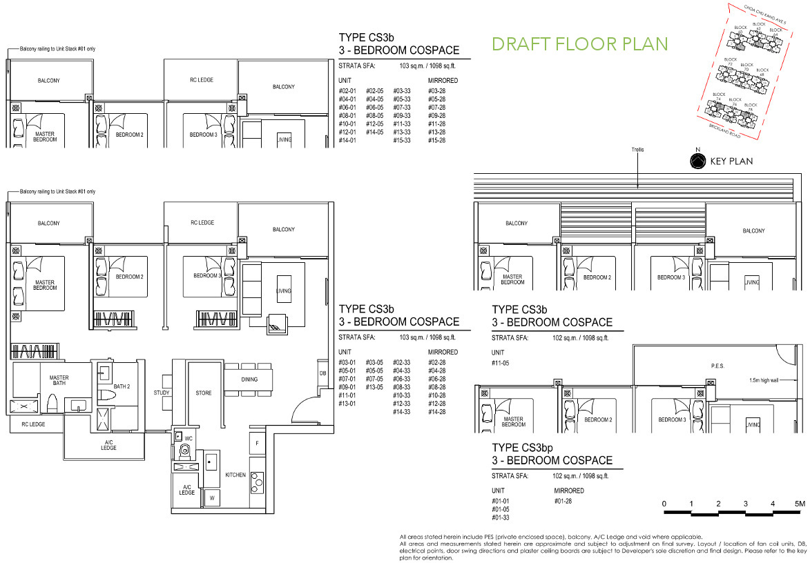 iNz Residence Floor Plan 3 Bedroom CoSpace CS3b DRAFT