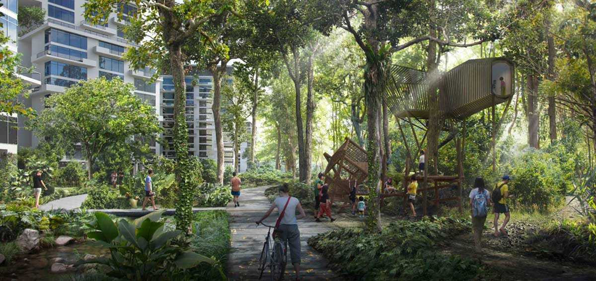 iNz Residences EC . Forest Corridor in Tengah New Town