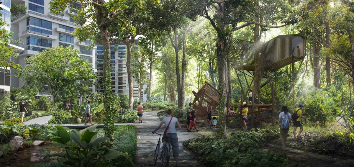 iNz Residences EC . Forest Corridor in Tengah New Town